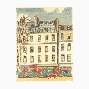 Orfeo Tamburi, Paris, Häuser und Baum, Original Lithographie, 1980er