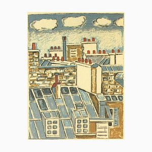 Orfeo Tamburi, Paris, Blue Roofs, Original Lithograph, 1980s