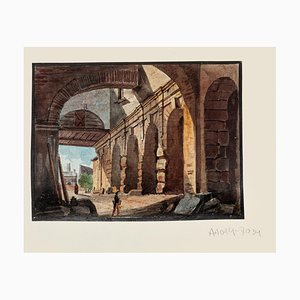 Unknown, Arcs, Original Hand Watercolor Etching, 19th Century