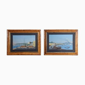 Framed Glazed Neapolitan Gouache Paintings, Set of 2