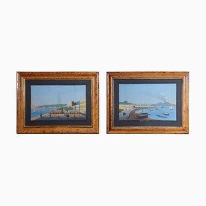 Gerahmte glasierte neapolitanische Gouache Gemälde, 2er Set