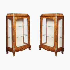 Figured Inlaid Walnut Pier Cabinets, Set of 2