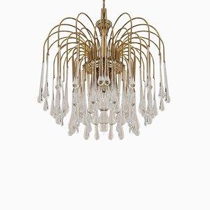 Brass & Murano Glass Teardrop Chandelier, 1960s