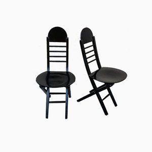 Black Solid Wood Folding Chairs, Italy, 1980s, Set of 2