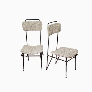 Dining Chairs in Bouclè Fabric and Tubular Iron, 1950s, Set of 2