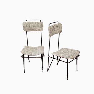 Esszimmerstühle aus Bouclè Gewebe & Eisenrohr, 1950er, 2er Set