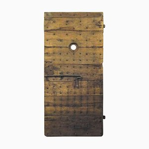 Antique Prison Door in Brown Poplar with Original Irons, 19th Century, Italy