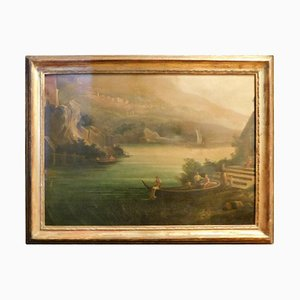 Antique Landscape Painting With Gilt Frame, 1950s
