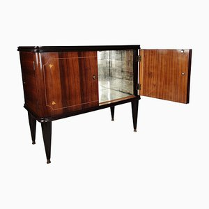 Italian Walnut Inlay and Mirror Mosaic Bar Cabinet, 1940s