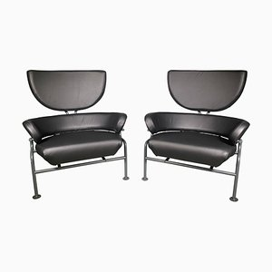 Black Leather Tre Pezzi Lounge Chairs by Franco Albini for Poggi, 1959, Italy, Set of 2