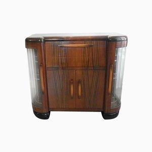 Mueble de entretenimiento italiano Art Déco de palisandro y caoba, años 40