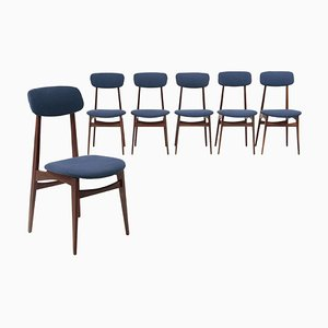 Wood and Blue Fabric Chairs, 1960s, Set of 6