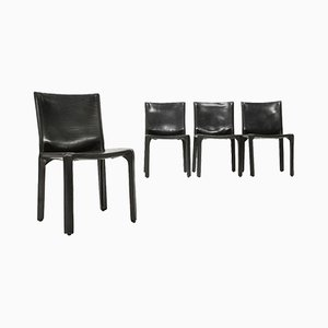 Cab Chairs in Black Leather by Mario Bellini for Cassina, 1970s, Set of 4