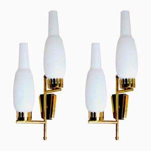 Applique in vetro opalino e ottone di Stilnovo, anni '60, set di 2