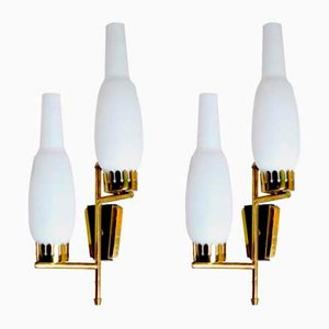 Opaline Glass & Brass Sconces from Stilnovo, 1960s, Set of 2