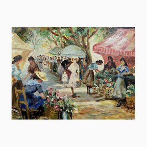 Marcel Dyf, The Flower Market On Lices in Arles, 1966, Huile Sur Toile