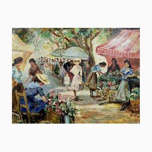 Marcel Dyf, The Flower Market On Lices in Arles, 1966, óleo sobre lienzo