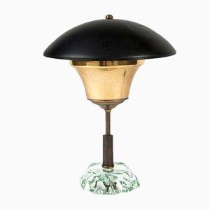 Drehbare Mid-Century Tischlampe mit Schirm aus Kristallglas von Max Ingrand für Fontana Arte, 1950er
