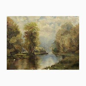 Theodore Lévigne, 1848-1912, Oil On Canvas, Lake Landscape