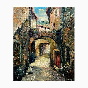 View of Saint Montan in Ardèche, Signed Raoult, France, Oil on Canvas