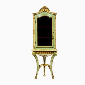 Antique Louis XV Venetian Lacquered and Gilded Wood Corner Showcase