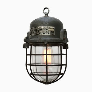 Gray Cast Aluminum Vintage Industrial Clear Glass Cage Lamp