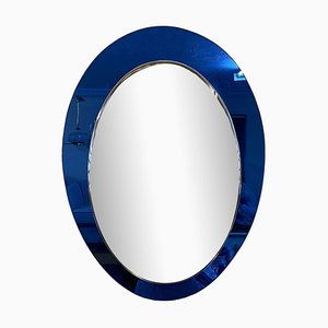 Italian Mirror with Blue Glass Frame, 1960s