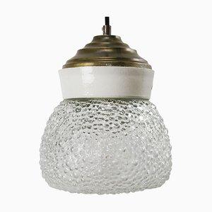 Lampe à Suspension Vintage en Porcelaine Blanche en Verre Givré et Laiton