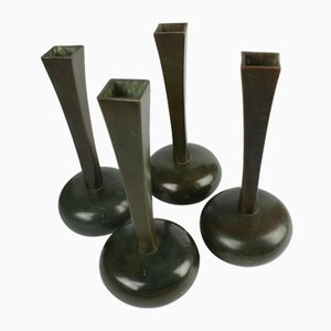 Vintage Patinated Bronze Vases from G.A.B., Set of 4