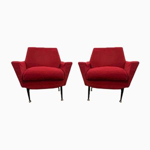 Armchairs with Metal Base, 1960s, Set of 2