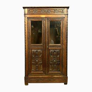 Renaissance Solid Walnut Cabinet or Showcase, 1850s