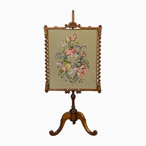 Antique Walnut Adjustable Fire Screen