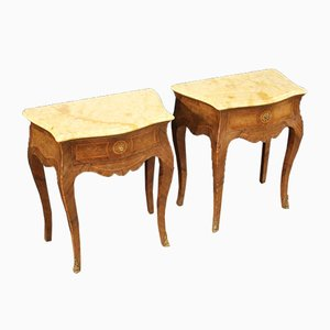 Italian Inlaid Rosewood Nightstands with Marble Tops, 1960s, Set of 2
