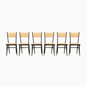Lackierte Messing Esszimmerstühle von Ico Luisa Parisi, 1950er, 6er Set
