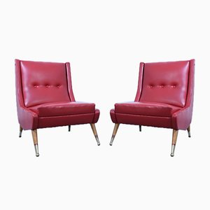 Mid-Century Red Vinyl Lounge Chairs, Set of 2