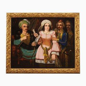 Escena oriental con personajes, siglo XIX, Italia, óleo sobre lienzo