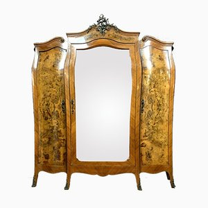 Antique Louis XV Marquetry Curved Burr and Walnut Wardrobe