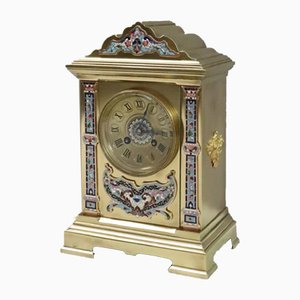 French Napoleon III Brass and Champleve Mantel Clock from Vincenti, 1860s