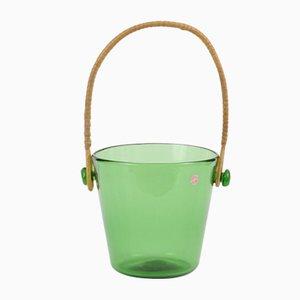 Mid-Century Italian Green Glass Ice Bucket from Empoli, 1950s
