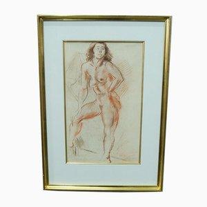 Jules Schyl, Akt, Pastell, 1953