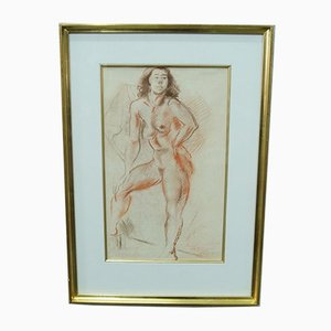 Jules Schyl, Female Act, Pastel, 1953