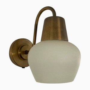 Brass Wall Lamp with Opal Glass Shade by Kaj Gottlob for Fog and Morup