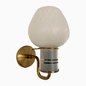 Danish Brass Wall Lamp with a Opaline Glass Shade, 1950s