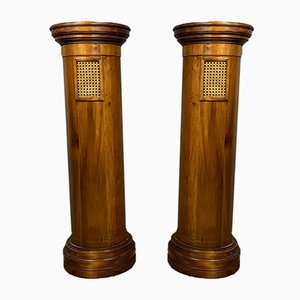 Antique Art Deco Pedestal Console Tables, Set of 2