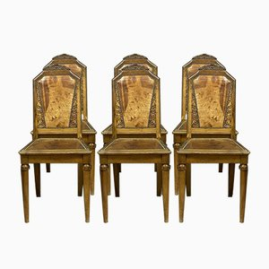 Art Deco Walnut and Leather Dining Chairs, 1930s, Set of 6