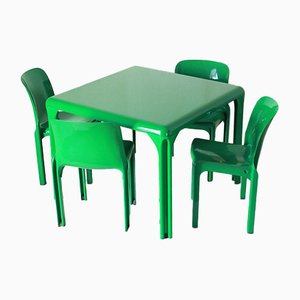 Italian Plastic Stadio 100 Dining Table & Selene Chairs Set by Vico Magistretti for Artemide, 1960s, Set of 5