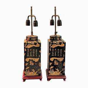 Table Lamps With Chinoiserie Decorations, 1970s, Set of 2
