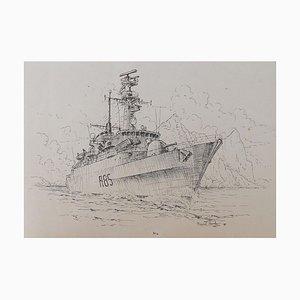 David Hawker, War Ship ink Painting, 1980s