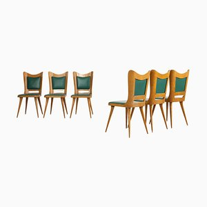 Italian Wooden Dining Chairs with Green Upholstery, 1950, Set of 6