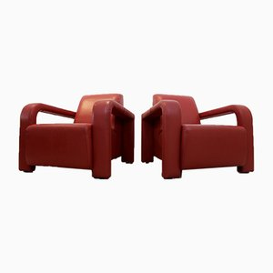 Italian Red Leather Armchairs from Marinelli, Italy, Set of 2
